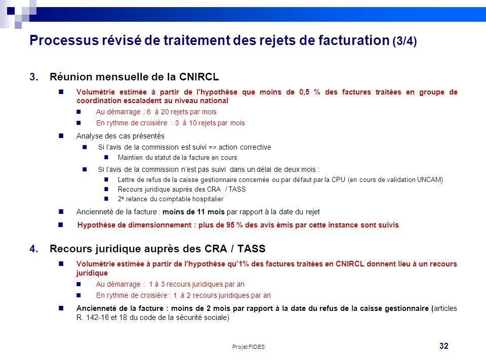 Processus révisé de traitement des rejets de facturation (3/4)