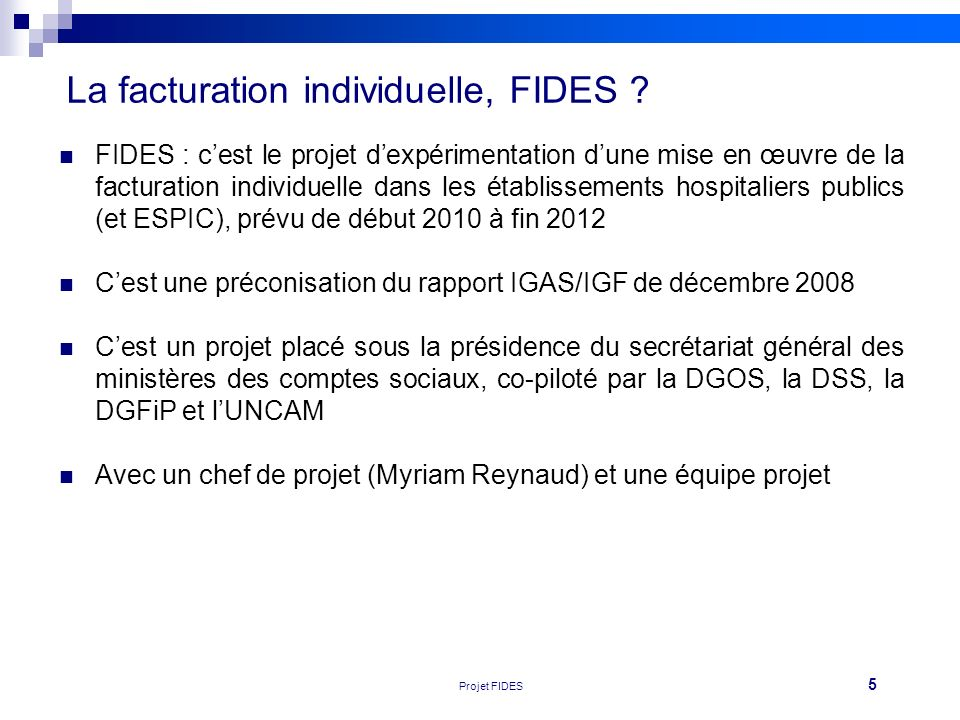La facturation individuelle, FIDES