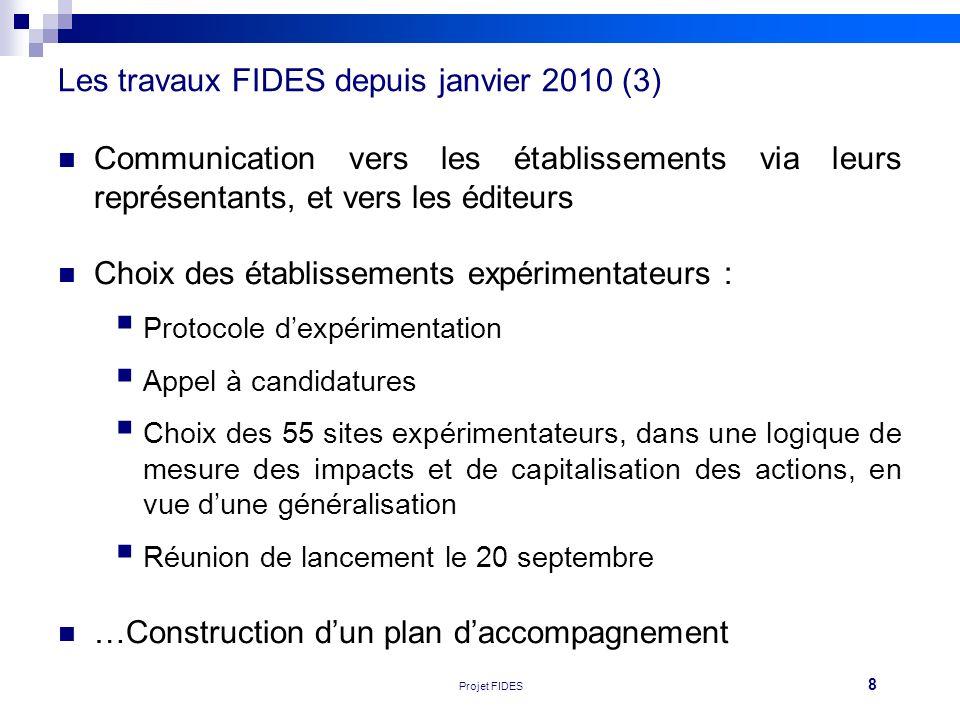 Les travaux FIDES depuis janvier 2010 (3)