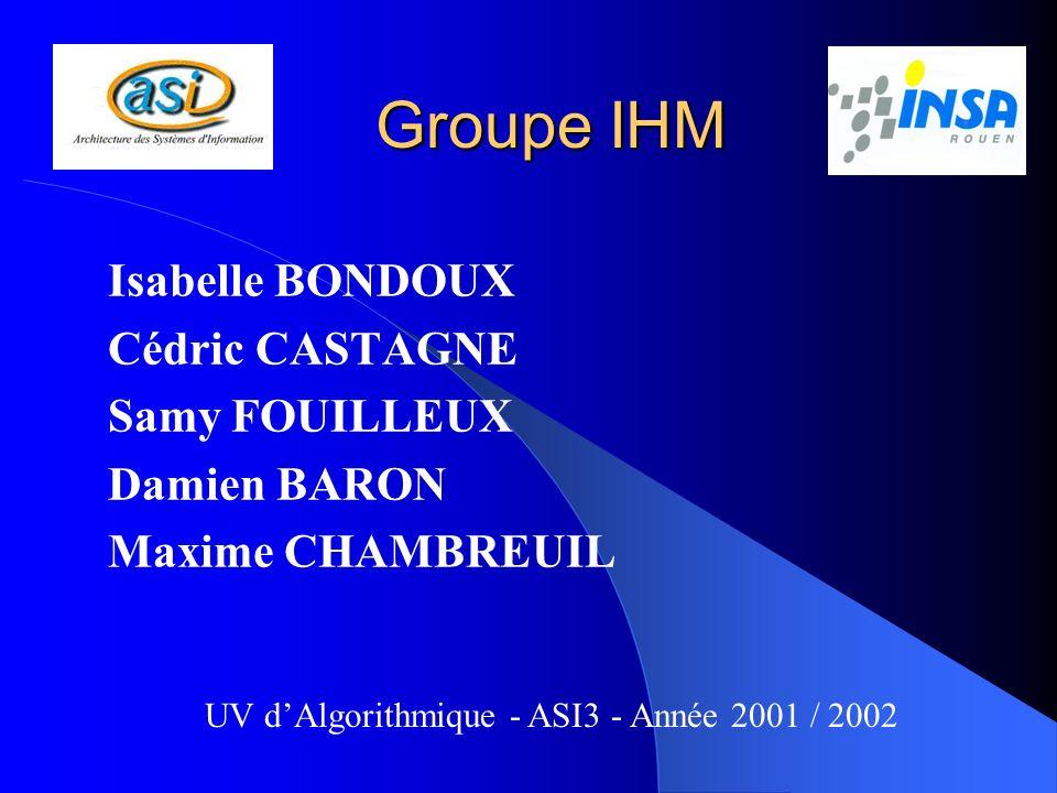 Groupe IHM Isabelle BONDOUX Cédric CASTAGNE Samy FOUILLEUX