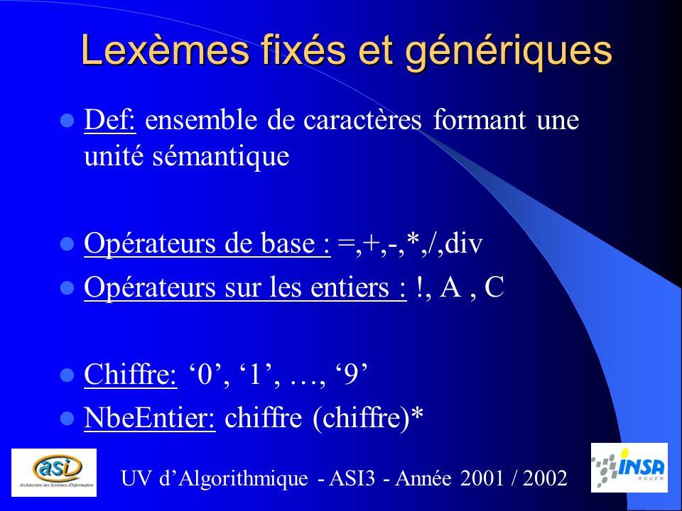 Lexèmes fixés et génériques