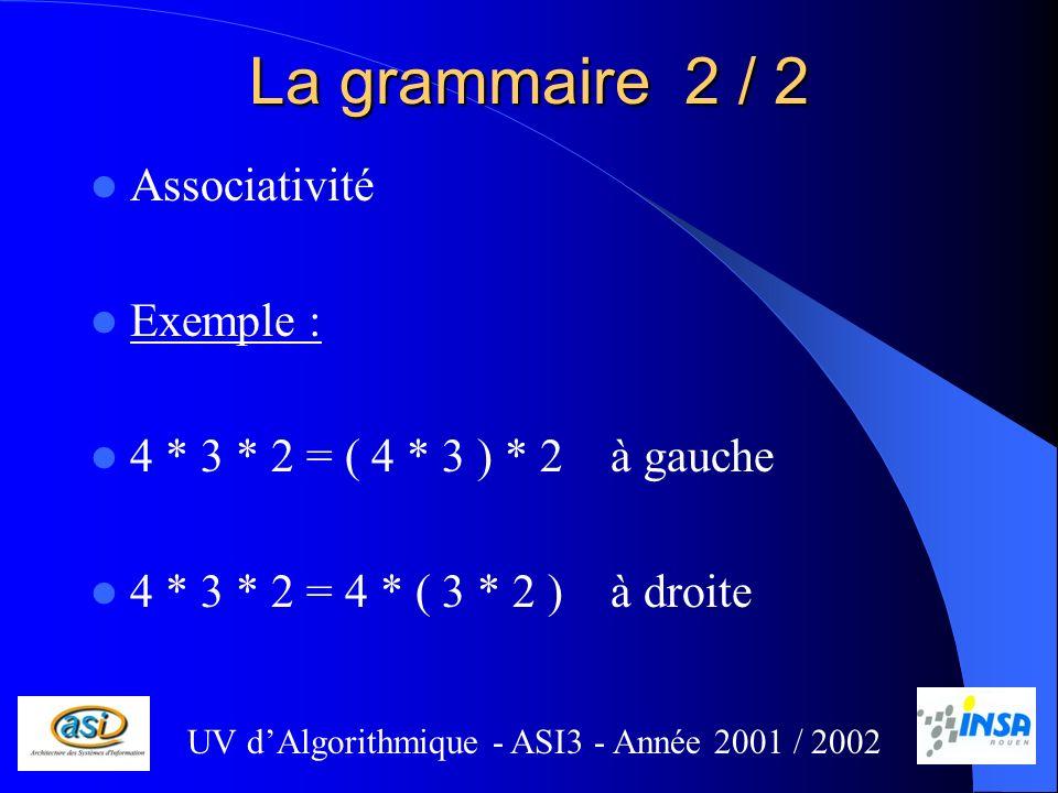 La grammaire 2 / 2 Associativité Exemple :