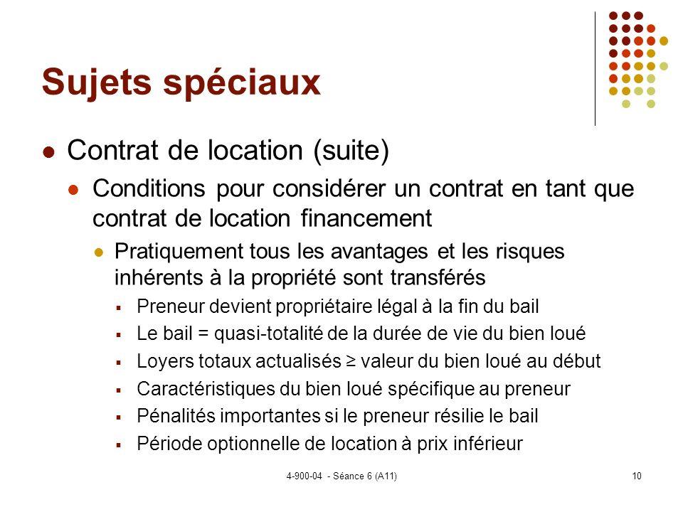 Sujets spéciaux Contrat de location (suite)