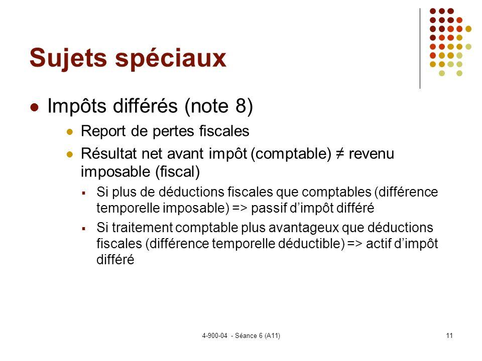 Sujets spéciaux Impôts différés (note 8) Report de pertes fiscales