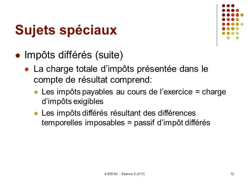 Sujets spéciaux Impôts différés (suite)