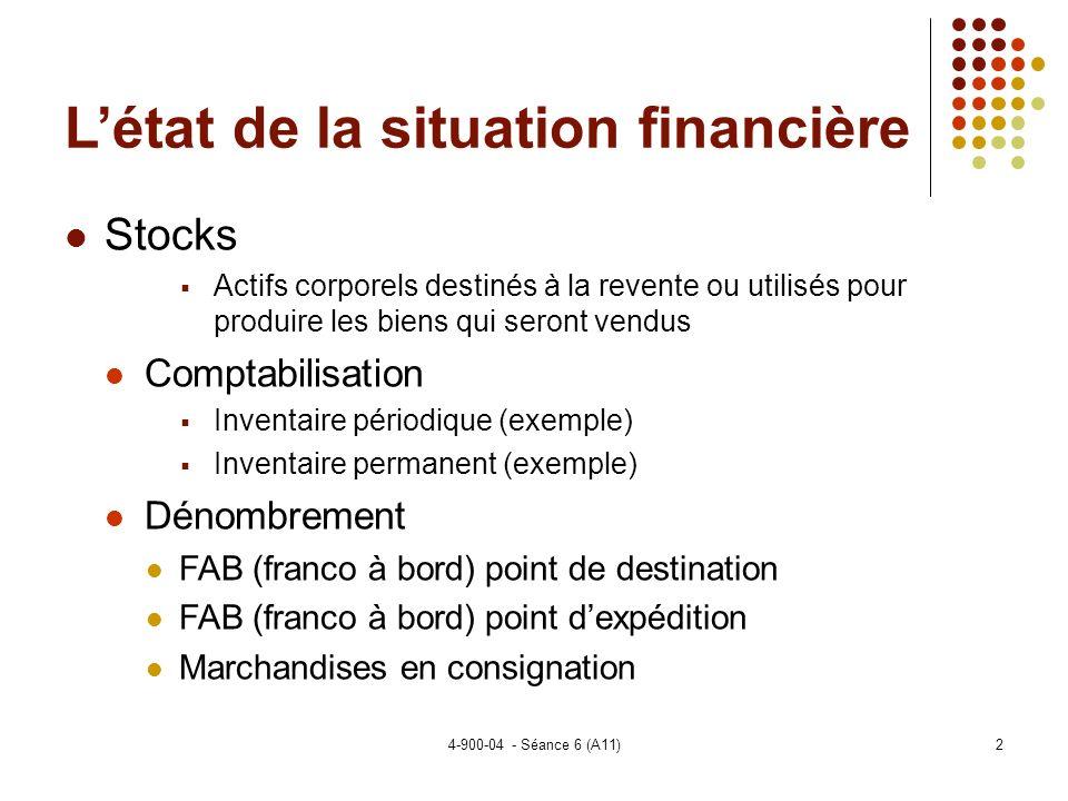 L'état de la situation financière