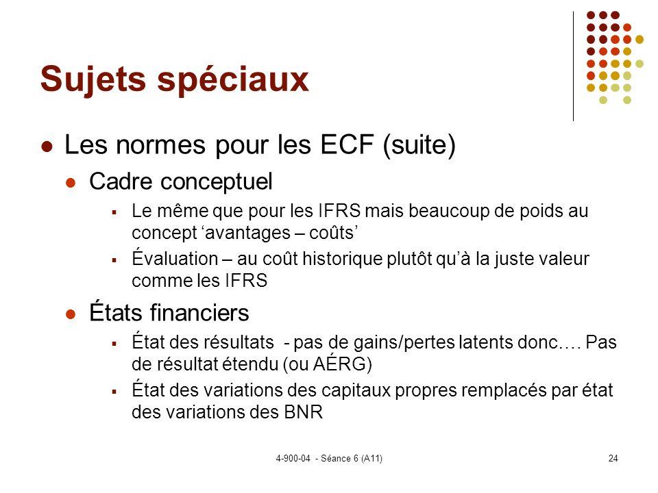 Sujets spéciaux Les normes pour les ECF (suite) Cadre conceptuel