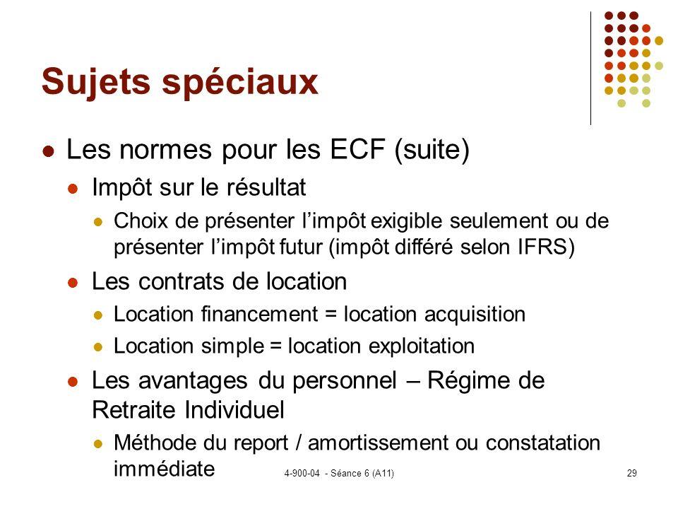 Sujets spéciaux Les normes pour les ECF (suite) Impôt sur le résultat