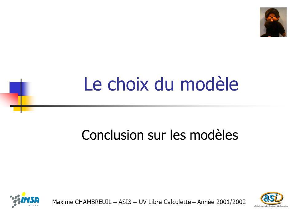 Conclusion sur les modèles