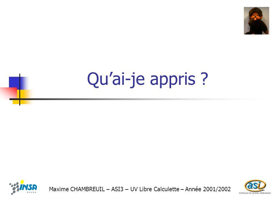 Qu'ai-je appris Maxime CHAMBREUIL – ASI3 – UV Libre Calculette – Année 2001/2002