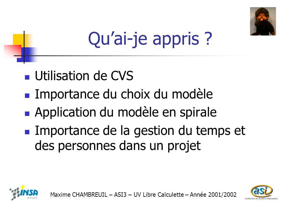 Qu'ai-je appris Utilisation de CVS Importance du choix du modèle