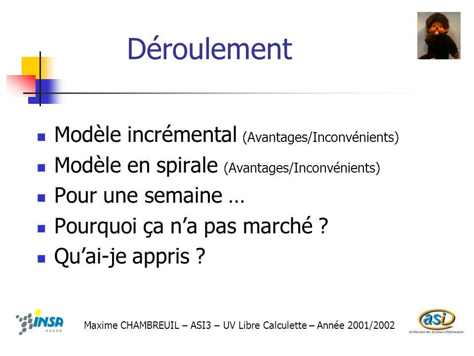 Déroulement Modèle incrémental (Avantages/Inconvénients)