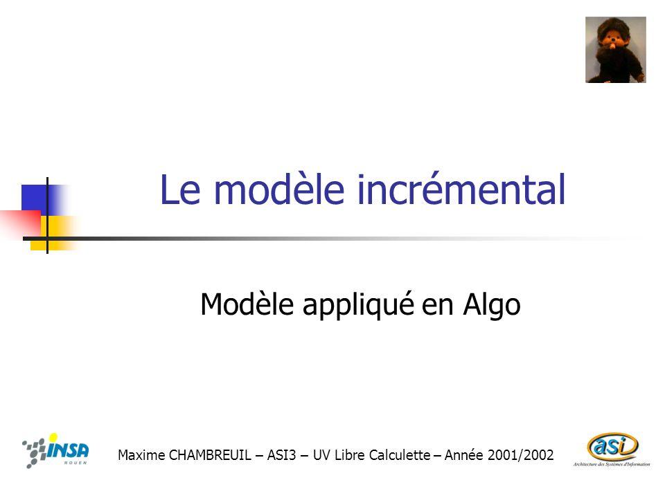 Modèle appliqué en Algo