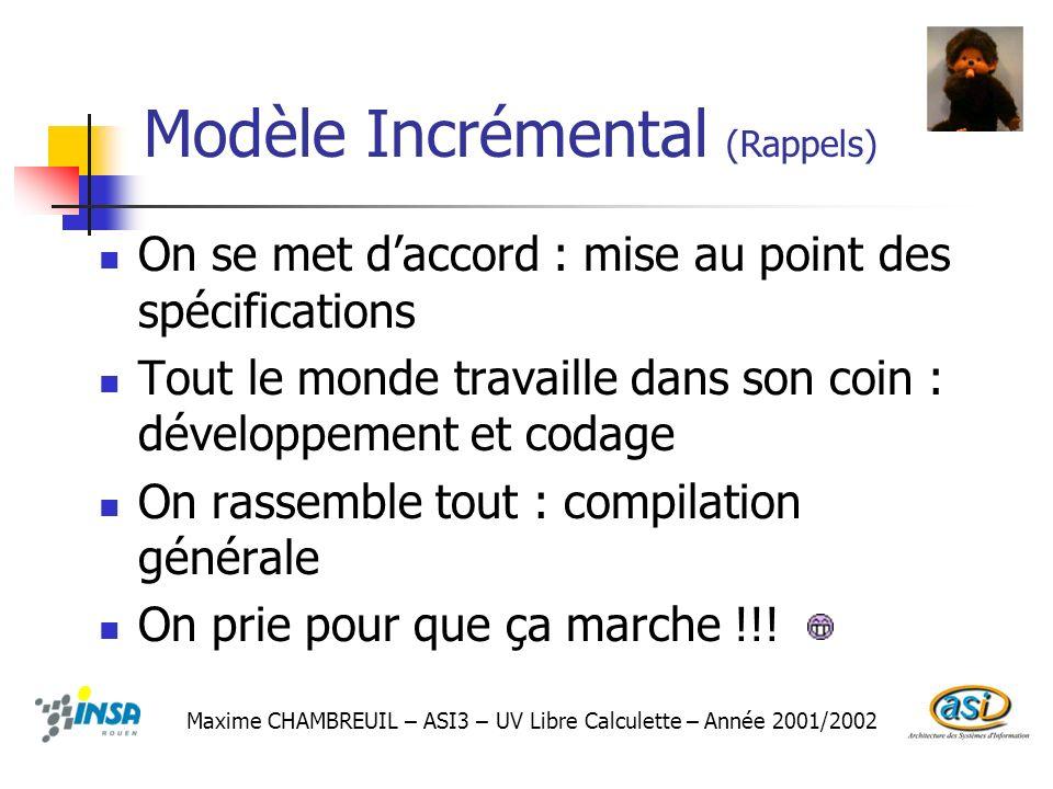 Modèle Incrémental (Rappels)