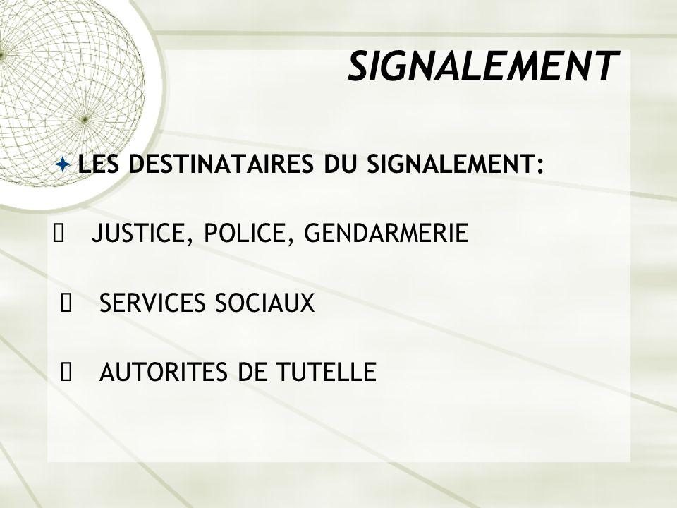 SIGNALEMENT LES DESTINATAIRES DU SIGNALEMENT: