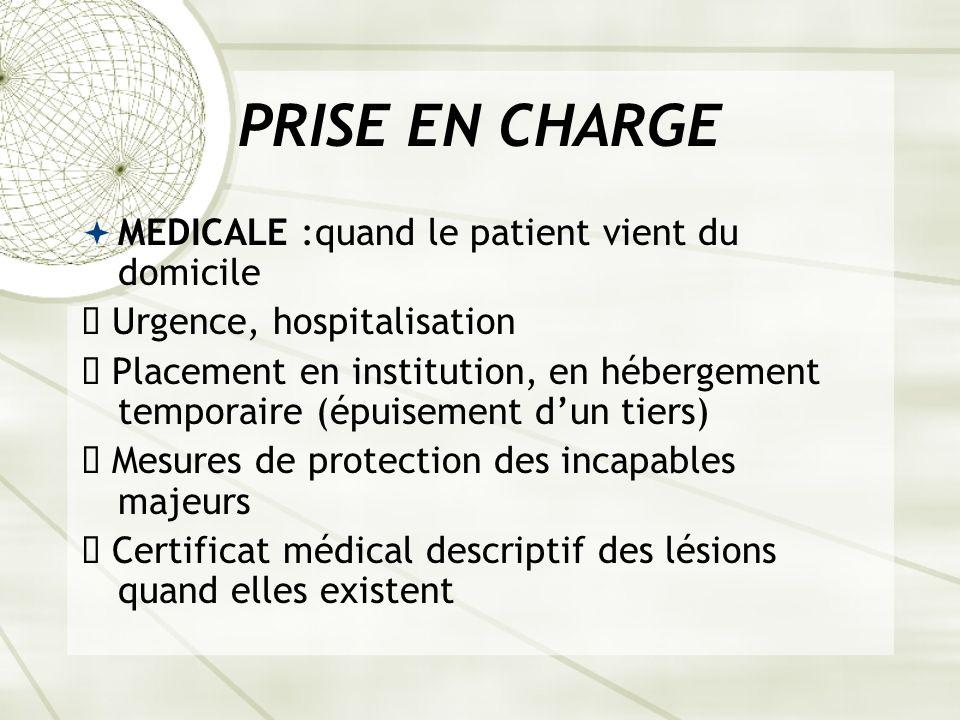 PRISE EN CHARGE MEDICALE :quand le patient vient du domicile