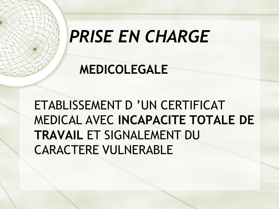 PRISE EN CHARGE MEDICOLEGALE