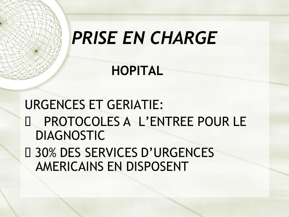 PRISE EN CHARGE HOPITAL URGENCES ET GERIATIE: