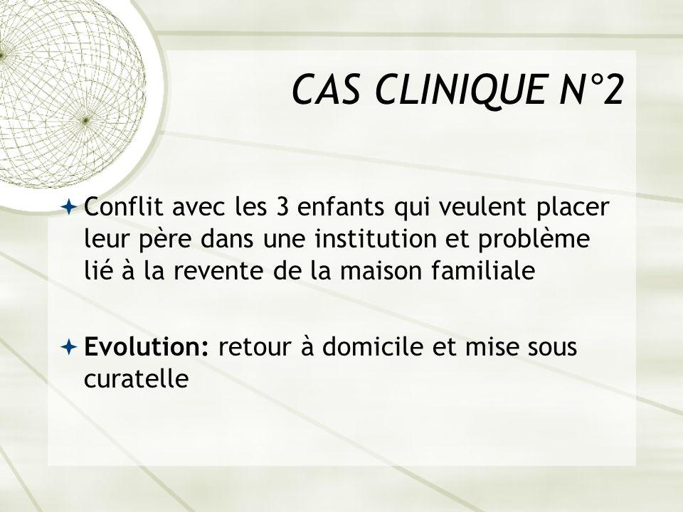 CAS CLINIQUE N°2 Conflit avec les 3 enfants qui veulent placer leur père dans une institution et problème lié à la revente de la maison familiale.
