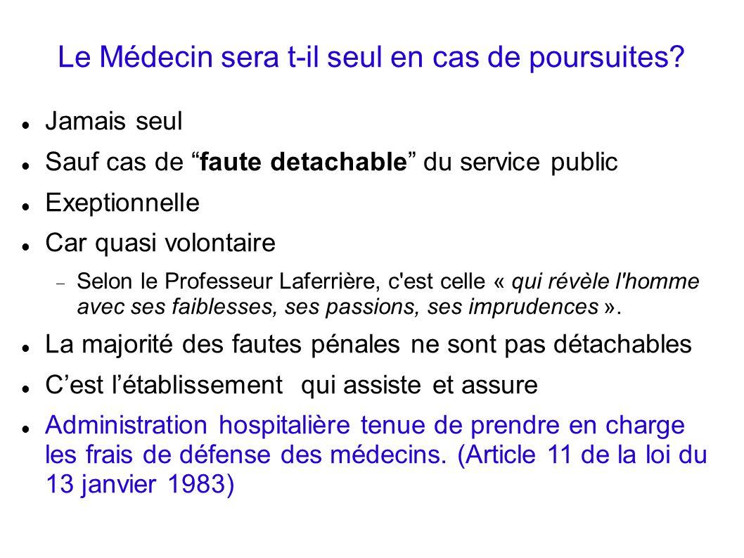 Le Médecin sera t-il seul en cas de poursuites