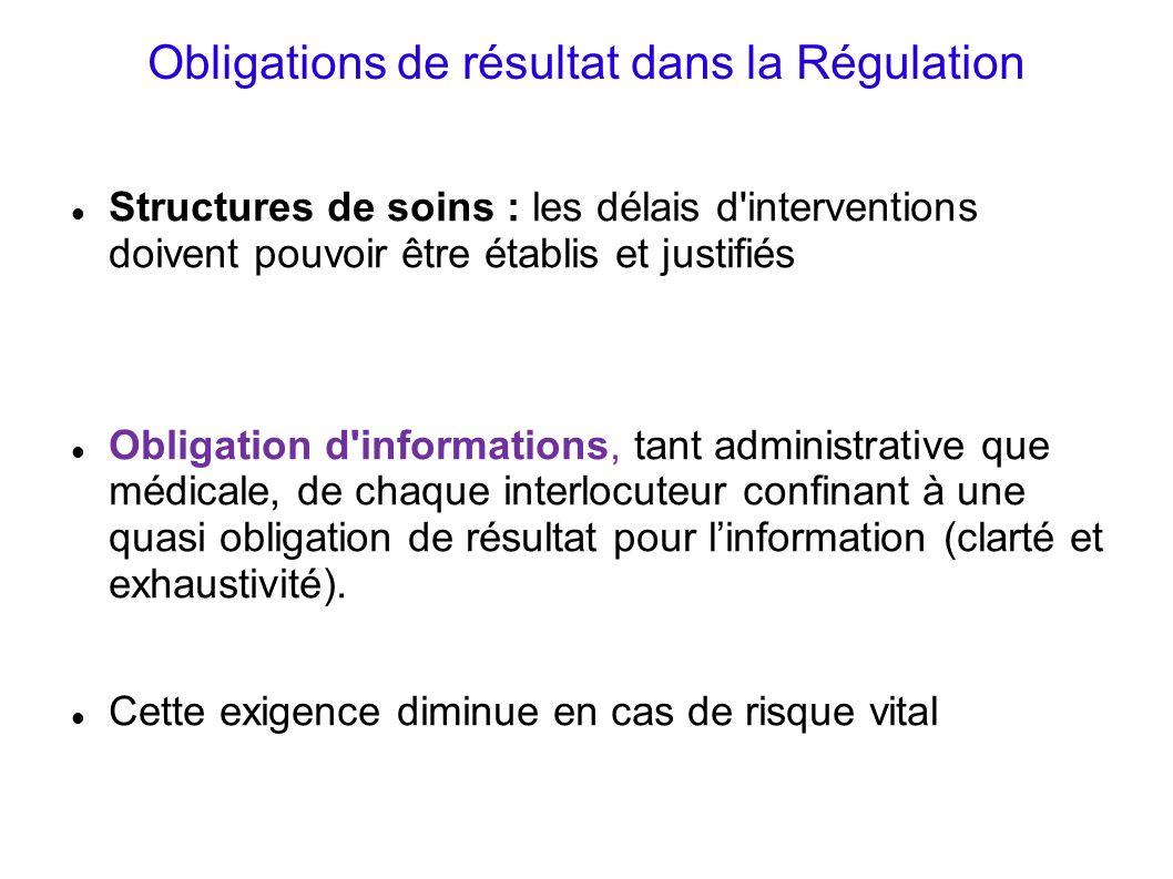 Obligations de résultat dans la Régulation