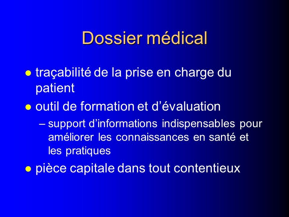 Dossier médical traçabilité de la prise en charge du patient
