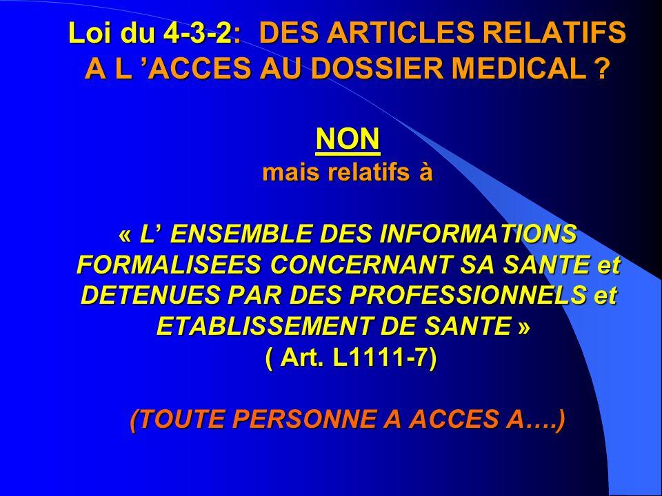Loi du 4-3-2: DES ARTICLES RELATIFS A L 'ACCES AU DOSSIER MEDICAL