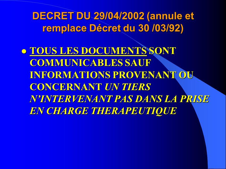 DECRET DU 29/04/2002 (annule et remplace Décret du 30 /03/92)