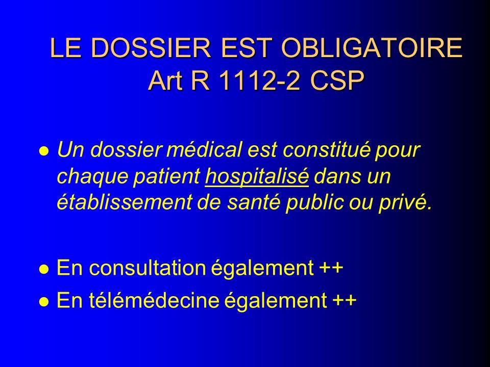LE DOSSIER EST OBLIGATOIRE Art R 1112-2 CSP