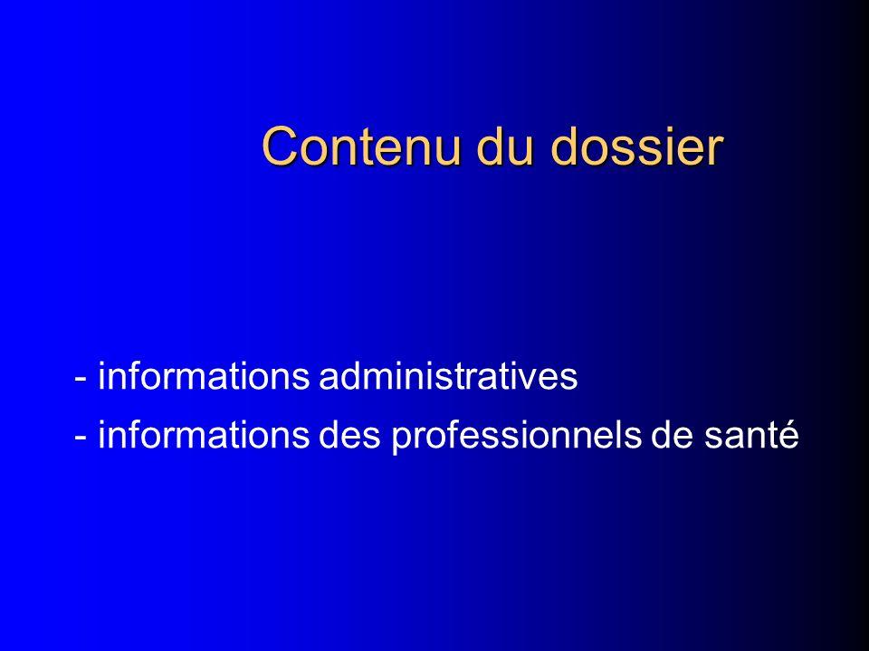 Contenu du dossier - informations administratives