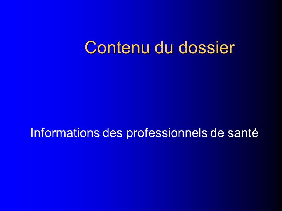 Informations des professionnels de santé