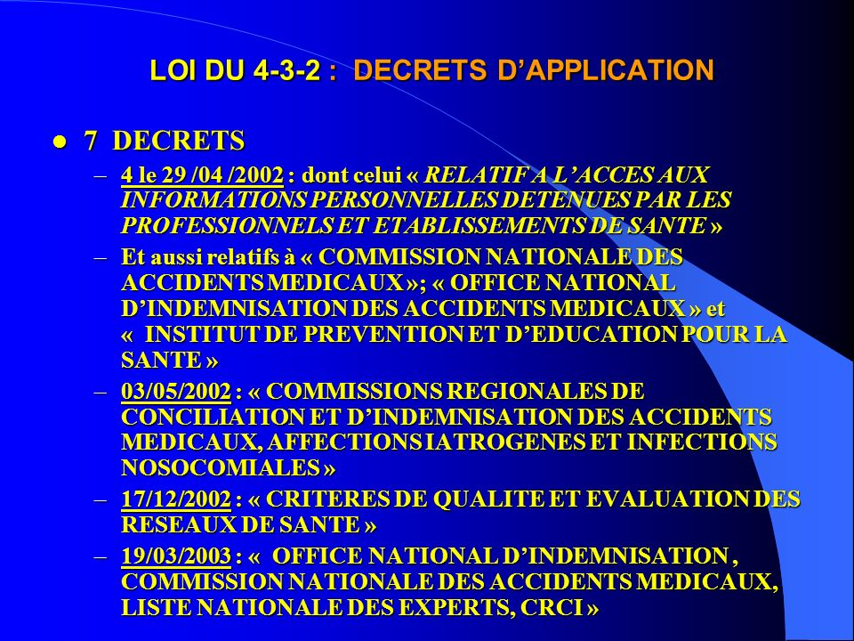 LOI DU 4-3-2 : DECRETS D'APPLICATION