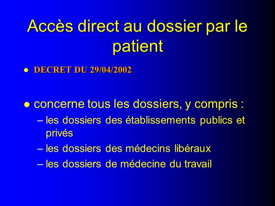 Accès direct au dossier par le patient