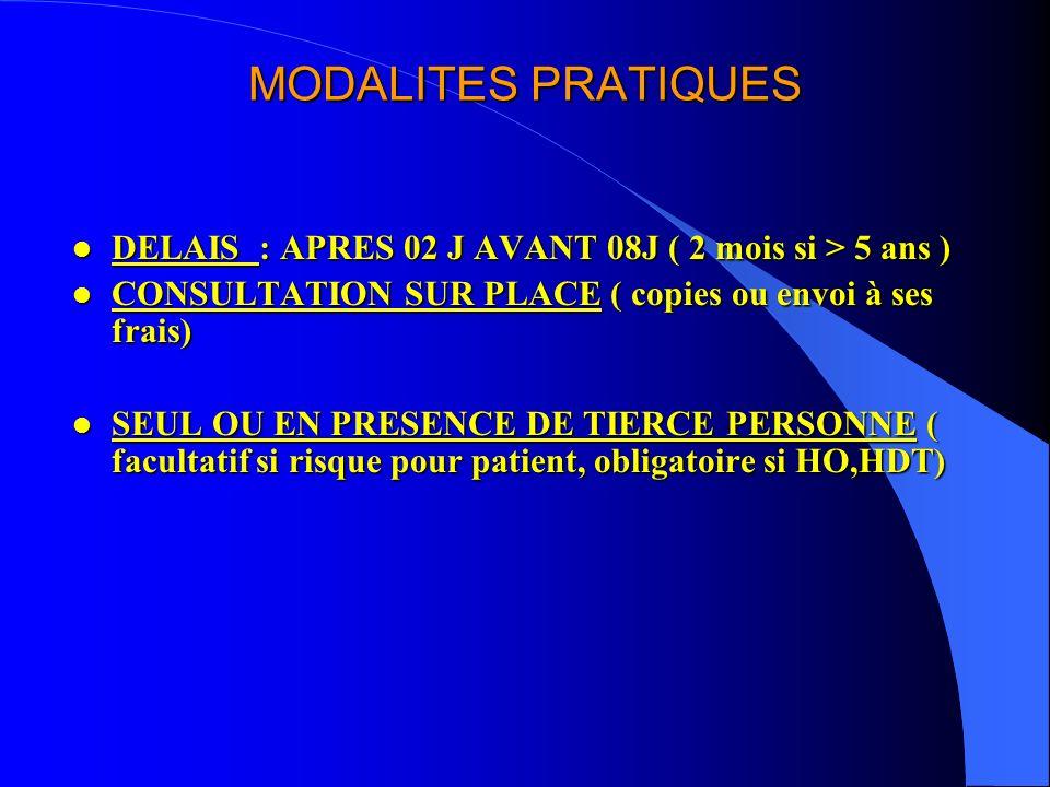 MODALITES PRATIQUES DELAIS : APRES 02 J AVANT 08J ( 2 mois si > 5 ans ) CONSULTATION SUR PLACE ( copies ou envoi à ses frais)