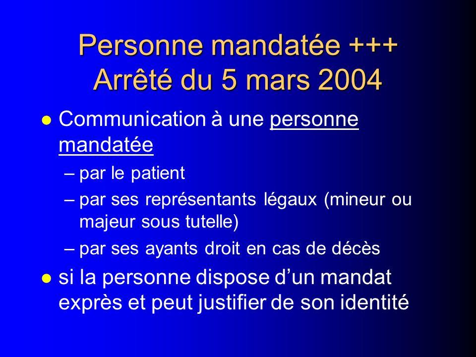 Personne mandatée +++ Arrêté du 5 mars 2004