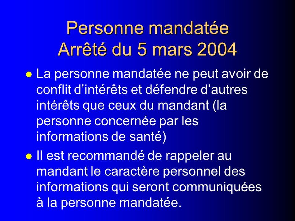 Personne mandatée Arrêté du 5 mars 2004