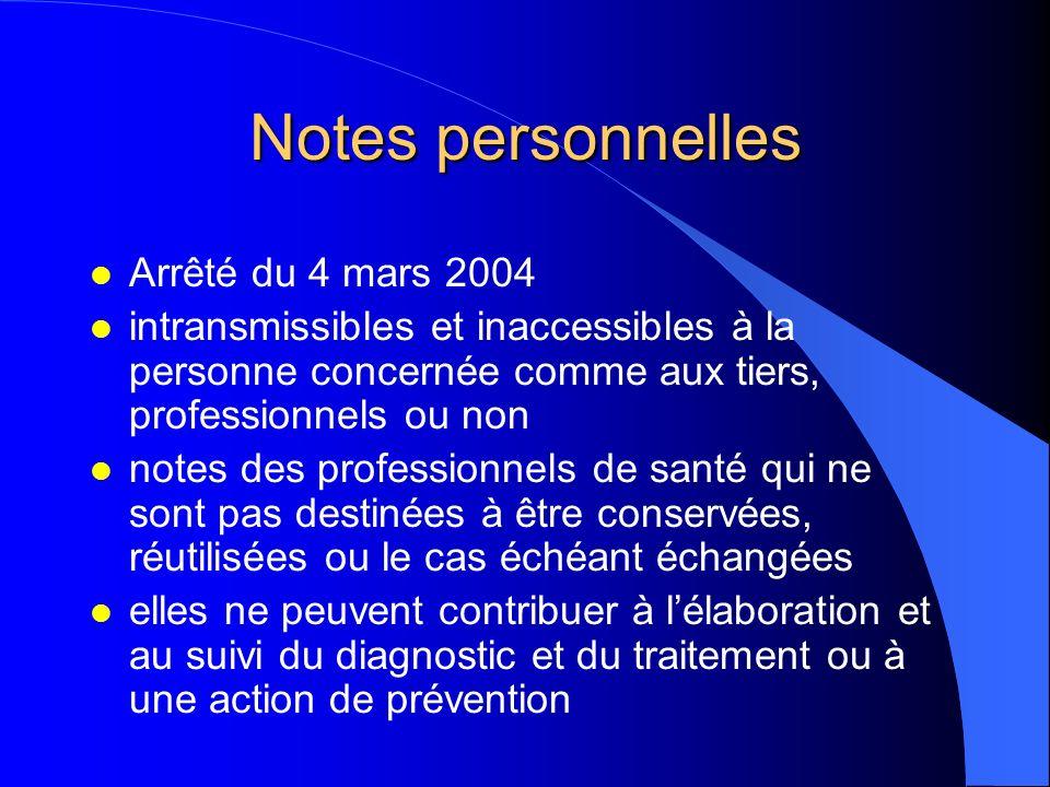 Notes personnelles Arrêté du 4 mars 2004