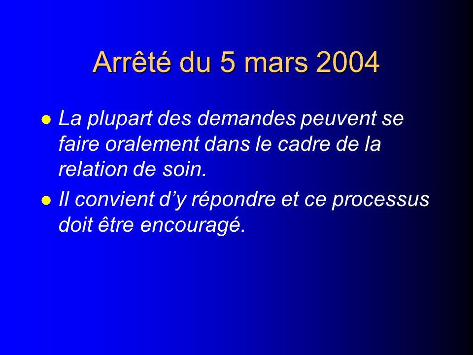 Arrêté du 5 mars 2004 La plupart des demandes peuvent se faire oralement dans le cadre de la relation de soin.