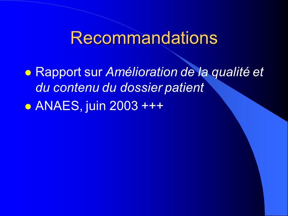Recommandations Rapport sur Amélioration de la qualité et du contenu du dossier patient.