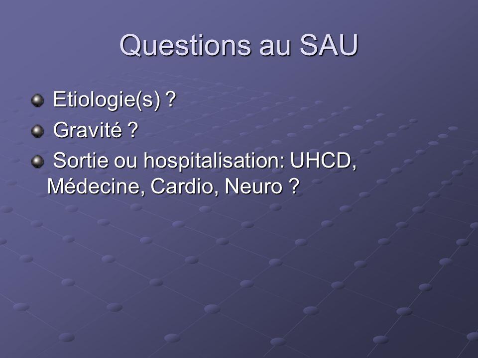Questions au SAU Etiologie(s) Gravité