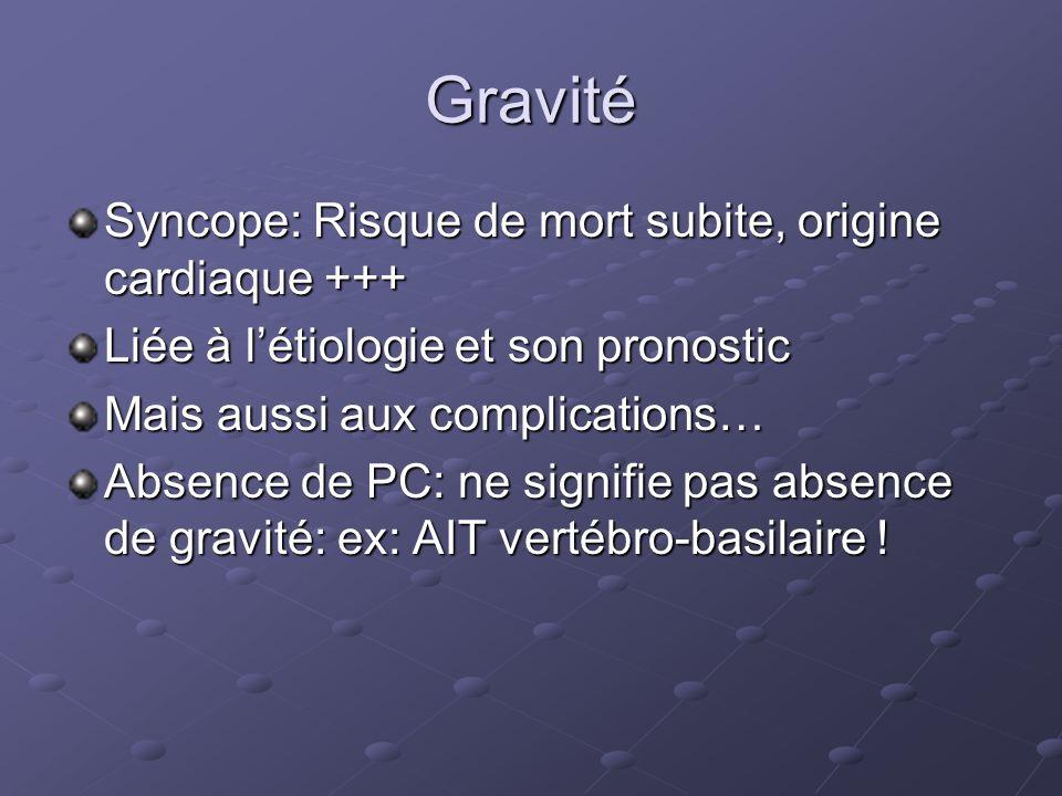 Gravité Syncope: Risque de mort subite, origine cardiaque +++