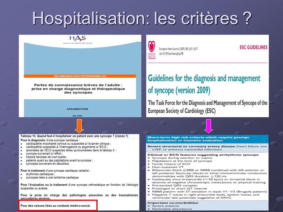Hospitalisation: les critères