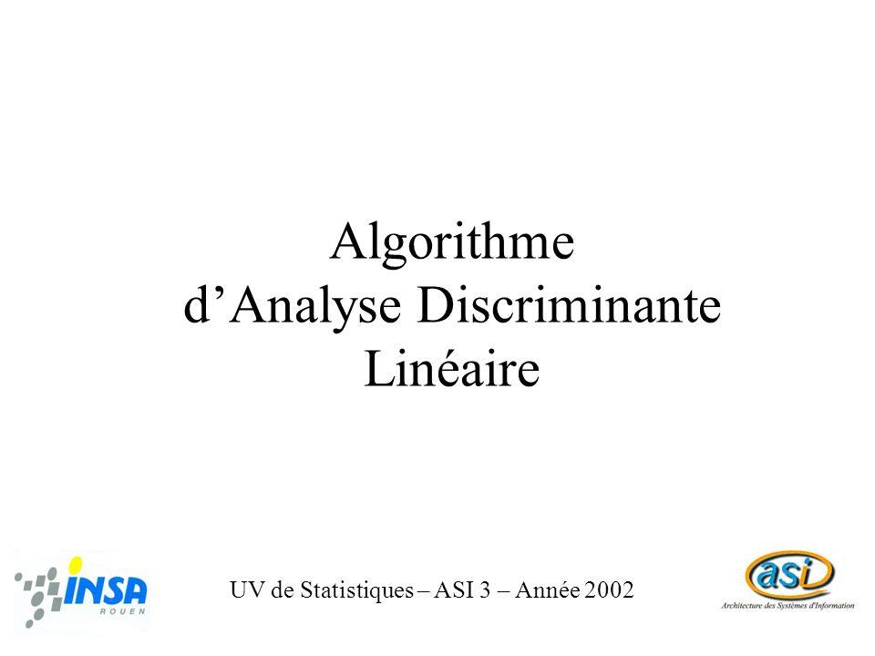 Algorithme d'Analyse Discriminante Linéaire