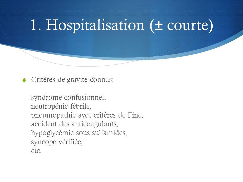 1. Hospitalisation (± courte)