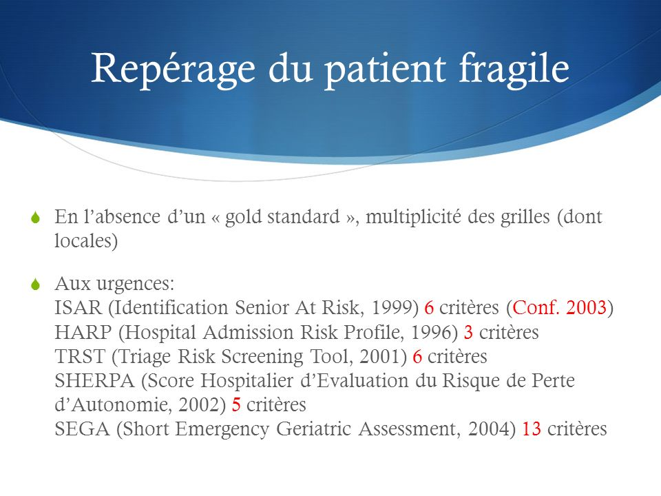 Repérage du patient fragile