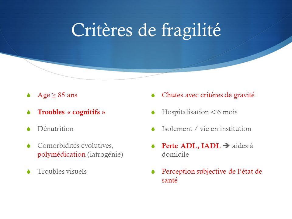 Critères de fragilité Age ≥ 85 ans Troubles « cognitifs » Dénutrition