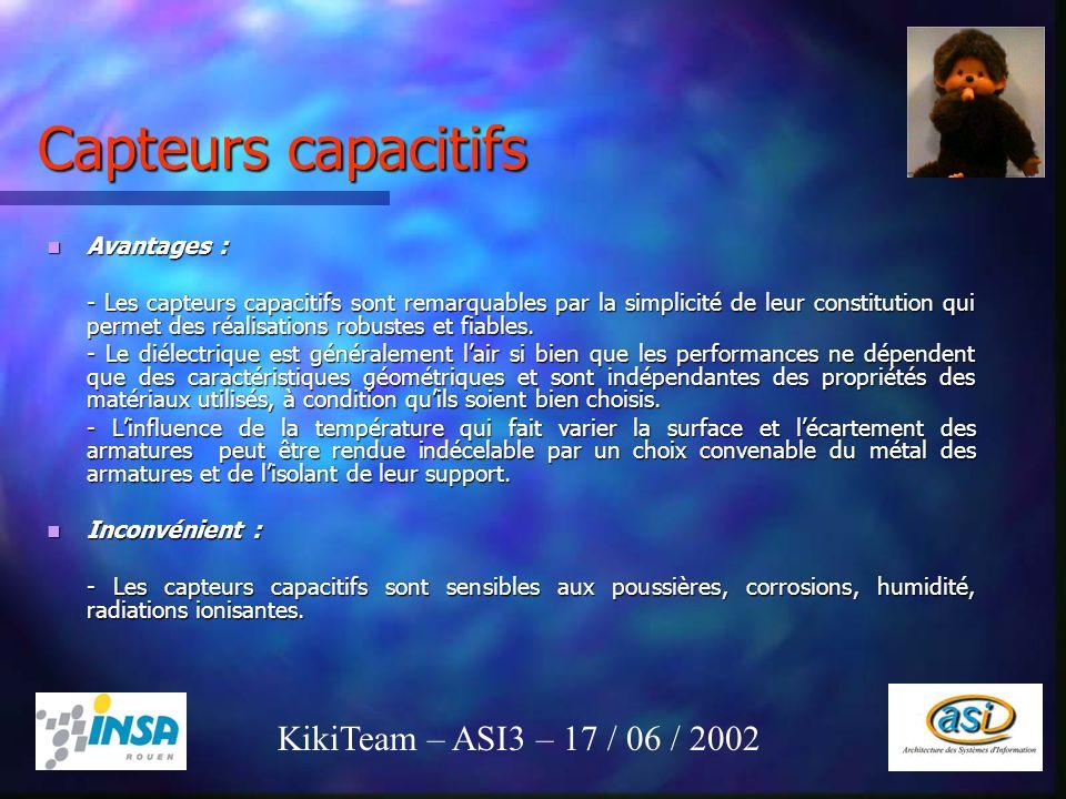 Capteurs capacitifs KikiTeam – ASI3 – 17 / 06 / 2002 Avantages :