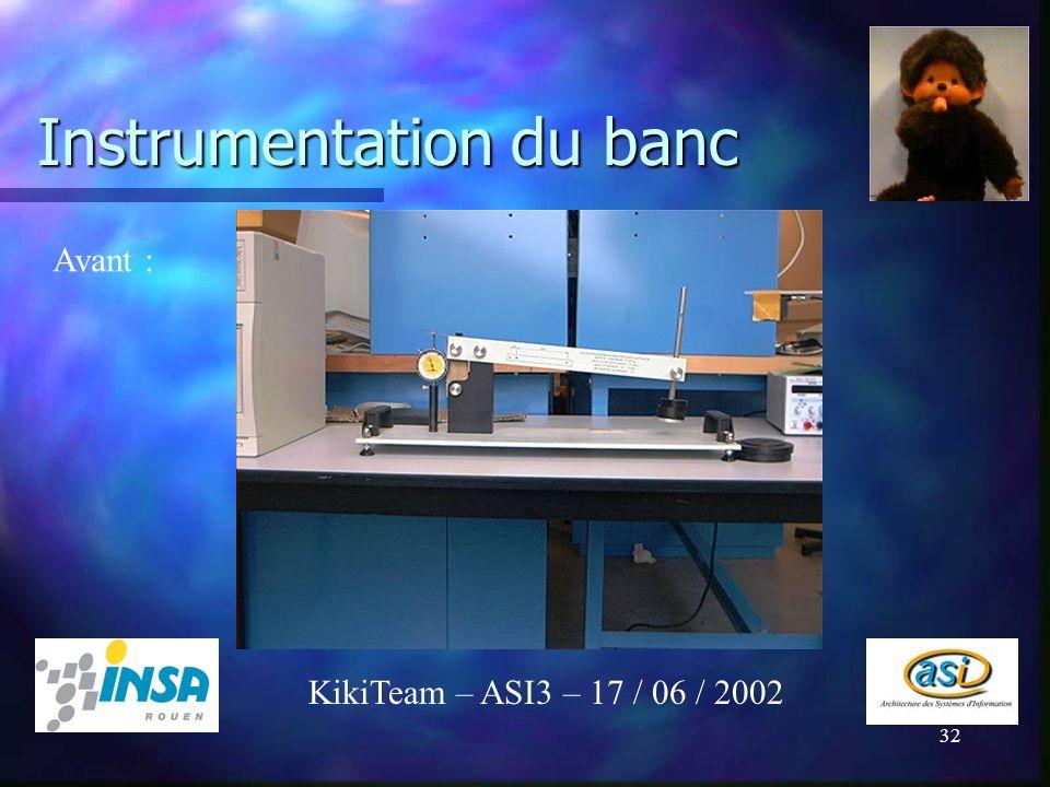 Instrumentation du banc