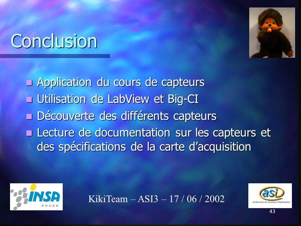 Conclusion Application du cours de capteurs