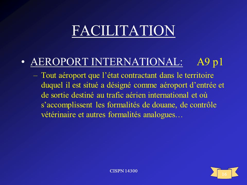 FACILITATION AEROPORT INTERNATIONAL: A9 p1